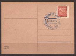 CZECHOSLOVAKIA. 1938. CARD. MILITARY. BLUE CANCEL- PRAHA 20 YEARS CZECH ARMY. - Czechoslovakia