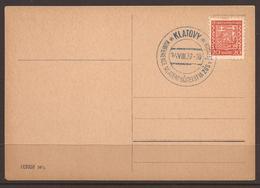 CZECHOSLOVAKIA. 1937. CARD. EDUCATION. KLATOVY TEACHERS CONFERENCE. BLUE CANCEL. - Cecoslovacchia