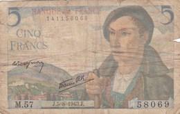 France - Billet De 5 Francs Type Berger - 5 Août 1943 - 1871-1952 Circulated During XXth
