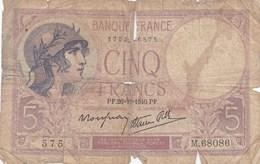 France - Billet De 5 Francs Type Violet - 26 Décembre 1940 - 1871-1952 Antiguos Francos Circulantes En El XX Siglo