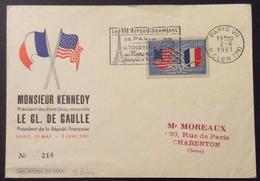D344 Amitié Franco-Américaine Kennedy De Gaulle 2/6/1961 Flamme Le VIIè Arrondissement De Paris Tour Eiffel Monuments - Cachets Commémoratifs