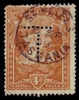 """TASMANIA • 1909 CDS Postmark On 4d Pictorial, Perf """"T"""" • ST HELENS - 1853-1912 Tasmania"""