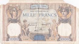 France - Billet De 1000 Francs Type Cérès & Mercure - 27 Octobre 1938 - 1 000 F 1927-1940 ''Cérès Et Mercure''