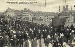 ORLEANS Fetes De Jeanne D'Arc 8 Mai 1913 Bannière De La Ville Pompiers Et Conseil Municipal RV - Orleans
