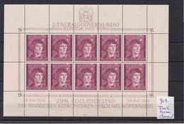 Generalgouvernement (GG) Kopernikus, **, Kleinbogen II/1,Leerfelder, Fleck - Bezetting 1938-45