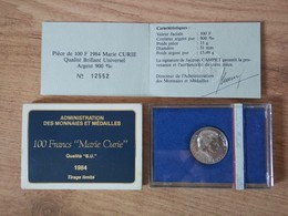 FRANCE 100 Francs Argent Marie CURIE BU 1984 - Commemoratives