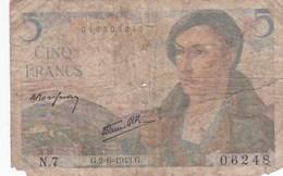 France - Billet De 5 Francs Type Berger - 2 Juin 1943 - 1871-1952 Circulated During XXth
