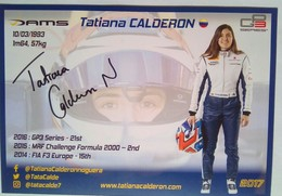 DAMS Racing  Tatiana Calderon Signed Card - Autorennen - F1