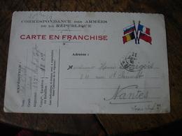 Carte Franchise 4 Drapeau Allies Coin Droit Tresor Et Postes 82 Cachet Franchise Postale Militaire Guerre 14.18 - Marcophilie (Lettres)
