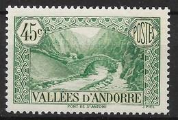 ANDORRE : PONT DE ST ANTONI 45c VERT BLEU N° 63 NEUF ** GOMME SANS CHARNIERE - French Andorra