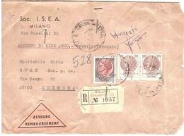 ASSEGNO BUSTA SOC.I.S.E.A. MILANO - 6. 1946-.. Repubblica