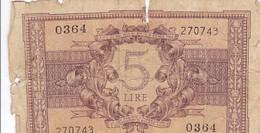 ITALIE 5 LIRE 1944 - [ 1] …-1946: Königreich