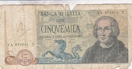 ITALIE 5000 LIRE COLOMB - [ 2] 1946-… : Républic