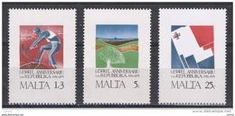 MALTA:  1975  ANNIVERSARIO  REPUBBLICA  -  S. CPL. 3  VAL. N. -  YV/TELL. 516/18 - Malta