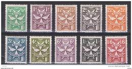 MALTA:  1968  TASSE  -  S. CPL. 10  VAL. N. -  D. 13  -  YV/TELL. 31/40 - Malta