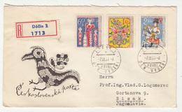 Czechoslovakia 1963 UNESCO - Folk Art - 2 FDCs Travelled Registered 1963 Dečin To Yugoslavia B190501 - FDC
