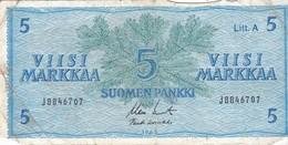 Billet - FINLANDE - 5 Markkaa - De 1963 - Finland