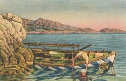 MARSEILLE - CPSM : La Pêche Aux Oursins ( Illustrateur ) - Marseilles