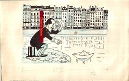 MAURICE HENRY Dessin Original Humoristique Colorisé - Scans Recto-verso - Dessins