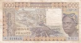 BILLET DE 1000 FRANCS BANQUE CENTRALE DES ETATS DE L'AFRIQUE DE L'OUEST ANNEE  1987 - West African States