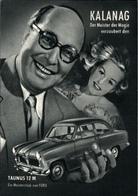 ! Ansichtskarte Reklame, Werbung, Ford Taunus 12M, Automobil, Zauberer Kalang, Hamburg, Magican, Magie - Artisti