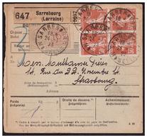 Bloc De 4 Du N°160 Sur Colis Postaux De SARREBOURG Pour STRASBOURG Du 24.1.23. - Briefe U. Dokumente