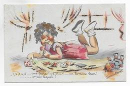 Carte Germaine Bouret 1,2,3,4,5 Une Lettre   1,2 3, 4,5,Un Homme Brun Mais Lequel? Découpi Relief - Bouret, Germaine