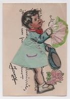 Rare Carte Germaine Bouret Garçon Avec Bouquet De Fleur  Découpi En Relief - Bouret, Germaine