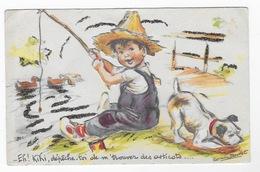 Carte Germaine Bouret Garçon Pecheur Découpi En Relief - Bouret, Germaine