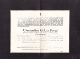 BOZEN Clementine Gräfin Von WALDSTEIN Herrin Von WARTENBERG Gräfin FORNI  1957 - Décès