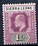 SIERRA LEONE - (Colonie Britannique) - 1904-05 - N° 64 - 1 1/2 P. Violet-brun Et Noir - (Edouard VII) - Sierra Leone (...-1960)