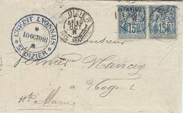 1891- Lettre De ST DIZIER  ( Haute Marne ) Cad A Affr. Paire Sage 15 C Perforée C L  ( Perforation De St Dizier ) - Marcophilie (Lettres)