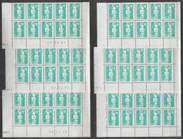 2618 20c BRIAT EMERAUDE - 10 DEMI BAS De FEUILLES X 10 - DATES Et PAPIERS DIFFERENTS - 1989-96 Marianna Del Bicentenario