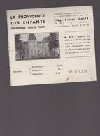 Billet De Tombola / La Providence Des Enfants, L'Etoile Des Pauvres, Guipy Nièvre / Soigner Enfants Anémiés - Billets De Loterie