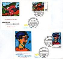 """BRD 2 Schmuck-FDC """"Deutscher Expressionismus"""", Mi. 798/99 ESSt 15.2.1974 BONN 1 - FDC: Covers"""
