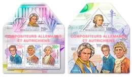 Djibouti 2019 Composers Beethoven Schubert Sebastian Bach Haydn MS+S/S DJB190202a - Famous People