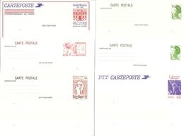 France - Petit Lot De 6 Entiers Postaux Neufs - Liberté De Gandon - Marianne De Cocteau - Institut Pasteur - Liberté ... - Entiers Postaux