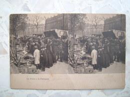 CPA Rare PARIS LA FOIRE A LA FERRAILLE Stéréoscopique. Marché Brocante Animée 75 - Artisanry In Paris