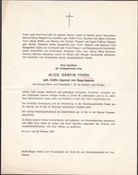 BOZEN Alice Gräfin FORNI Née Gräfin APPONYI Von NAGY-APPONY 1967 - Décès