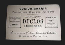 DESLANDES DUCLOS SAINT MAURILLE DES PONT DE CE  FERBLANTERIE PLOMBIER ZINGUERIE ANCIENNE CARTE VISITE  49 - Cartes De Visite