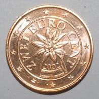 AUTRICHE - 2 CENT 2002 - EDELWEISS - SUPERBE A FLEUR DE COIN - - Austria