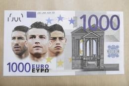 """REAL MADRID Football Billet Fictif 1000 Euros """"ESTADIO SANTIAGO BERNABEU MADRID"""" - Specimen"""