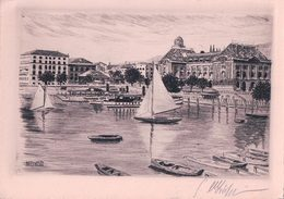 Neuchâtel Le Port, Eau Forte Signée KHBusch (3035) 10x14 - NE Neuchâtel