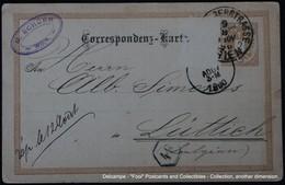 Correspondenz Karte Wien 09/08/1890 Lüttich Liège - Entiers Postaux