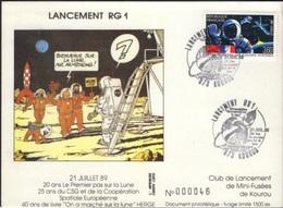 FRANCE 2571 Carte Spationaute Cachet Kourou Lancement Fusée RG1 Tintin Kuifje HERGE Lune Fusée Rocket Maan Moon - Comics