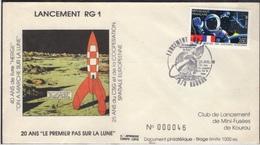 FRANCE 2571 Lettre Spationaute Cachet Kourou Lancement Fusée RG1 Tintin Kuifje HERGE Lune Fusée Rocket Maan Moon - Comics