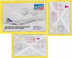 ֎ Concorde Paris-Rio Janeiro 1976 AIR FRANCE Lettre Premier ( 1.70 F Bleu/rouge Et Noir ) ֎ + 2 Flammes SUPERSONIQUE - Concorde