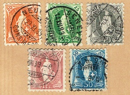 LA SERIE TIMBRES OBLITERES SIGNE 1888 C/.S.B.K. Nr:66B/71B. Y&TELLIER Nr:81/85. MICHEL Nr:58XB/63XB. - 1882-1906 Stemmi, Helvetia Verticalmente & UPU