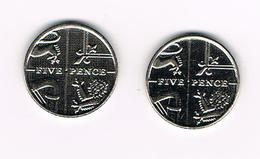 /  GREAT BRITAIN  2 X 5 PENCE 2014/2015 - 5 Pence & 5 New Pence