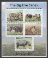 TANZANIA  ,2013, MNH,BIG FIVE, LIONS, LEOPARDS, ELEPHANTS, BUFFALO, RHINOS, SHEETLET + 5 S/SHEETS - Félins